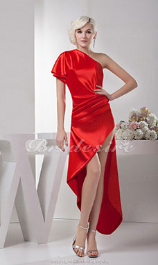 A-line One Shoulder Asymmetrical Short Sleeve Satin Dress