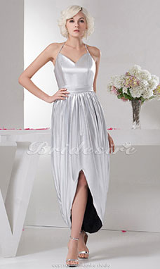 A-line Halter Tea-length Sleeveless Elastic Silk-like Satin Dress