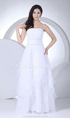 A-line Strapless Floor-length Sleeveless Satin Organza Wedding Dress