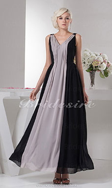 A-line V-neck Floor-length Sleeveless Chiffon Dress