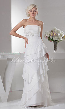 A-line Strapless Floor-length Sweep Train Sleeveless Chiffon Wedding Dress