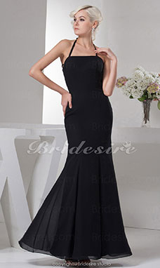 Trumpet/Mermaid Halter Floor-length Sleeveless Satin Dress
