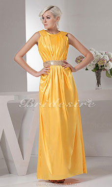 A-line Jewel Floor-length Sleeveless Stretch Satin Dress