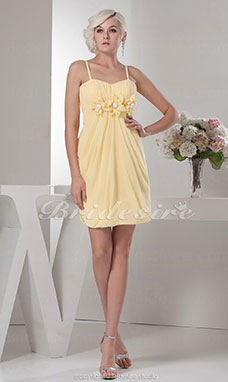Sheath/Column Spaghetti Straps Knee-length Sleeveless Chiffon Dress