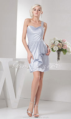 A-line One Shoulder Knee-length Sleeveless Elastic Silk-like Satin Dress