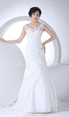 Trumpet/Mermaid Straps Court Train Sleeveless Taffeta Lace Wedding Dress