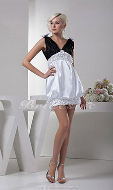 A-line V-neck Short/Mini Sleeveless Elastic Silk-like Satin Dress