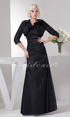 A-line Strapless Floor-length 3/4 Length Sleeve Satin Mother of the Bride Dress