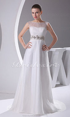 Sheath/Column A-line Bateau Sweep Train Sleeveless Satin Tulle Wedding Dress