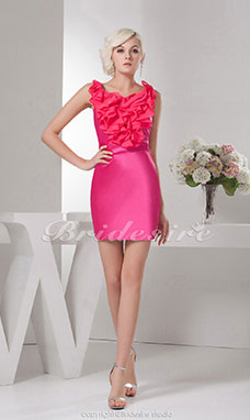 Sheath/Column Jewel Knee-length Sleeveless Satin Dress