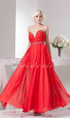 Princess Sweetheart Floor-length Sleeveless Chiffon Dress