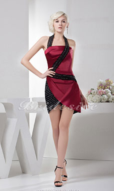 Sheath/Column Halter Short/Mini Sleeveless Satin Dress