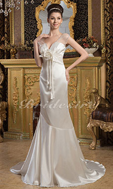 Trumpet/Mermaid V-neck Floor-length Court Train Short Sleeve Elastic Silk-like Satin Dress