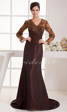 A-line V-neck Floor-length Sweep Train Long Sleeve Satin Mother of the Bride Dress