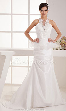 Trumpet/Mermaid Jewel Floor-length Sweep Train Sleeveless Taffeta Wedding Dress