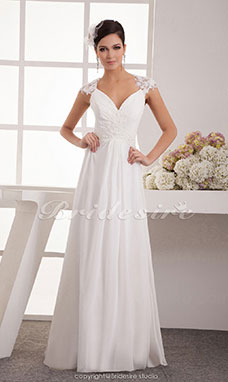 A-line V-neck Floor-length Short Sleeve Chiffon Wedding Dress
