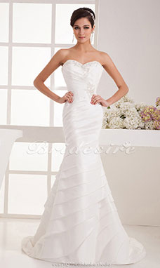 Trumpet/Mermaid Sweetheart Floor-length Sweep Train Sleeveless Satin Wedding Dress