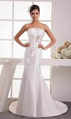 Trumpet/Mermaid Strapless Floor-length Chapel Train Sleeveless Satin Wedding Dress