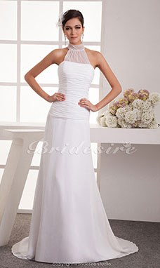 A-line High Neck Floor-length Sweep Train Sleeveless Chiffon Wedding Dress