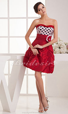 A-line Sweetheart Knee-length Sleeveless Satin Dress