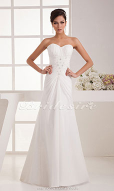 A-line Sweetheart Floor-length Court Train Sleeveless Chiffon Wedding Dress