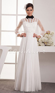 A-line High Neck Floor-length 3/4 Length Sleeve Chiffon Wedding Dress