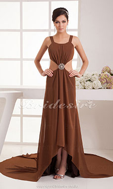 A-line Square Asymmetrical Chapel Train Sleeveless Chiffon Dress