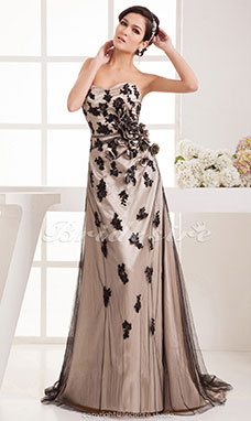 A-line Sweetheart Floor-length Court Train Sleeveless Stretch Satin Dress