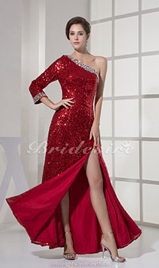 Trumpet/Mermaid One Shoulder Ankle-length 3/4 Length Sleeve Satin Dress