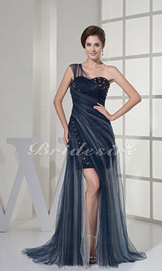 A-line One Shoulder Sweetheart Floor-length Sweep Train Sleeveless Organza Dress