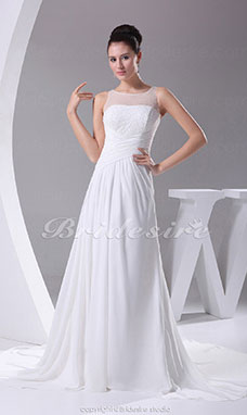 Sheath/Column Scoop Chapel Train Sleeveless Chiffon Wedding Dress