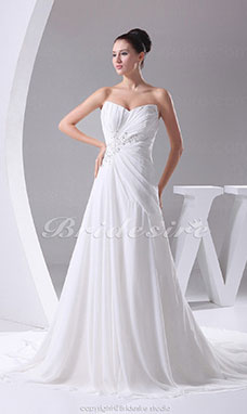 A-line Sweetheart Cathedral Train Sleeveless Chiffon Wedding Dress