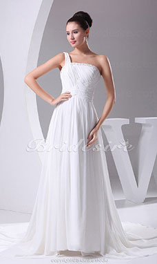 A-line One Shoulder Chapel Train Sleeveless Chiffon Wedding Dress