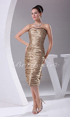 Sheath/Column Strapless Knee-length Sleeveless Stretch Satin  Dress