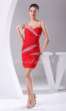 Sheath/Column Sweetheart Spaghetti Straps Short/Mini Sleeveless Chiffon Dress