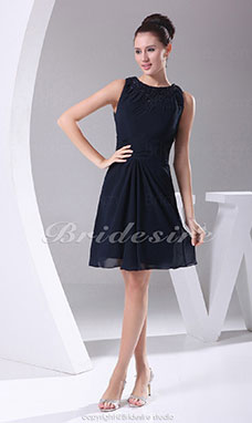A-line Scoop Short/Mini Sleeveless Chiffon Dress