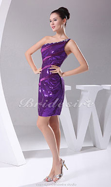 Sheath/Column One Shoulder Short/Mini Sleeveless Sequined Stretch Satin Dress