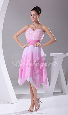 A-line Sweetheart Knee-length Sleeveless Chiffon Organza Dress