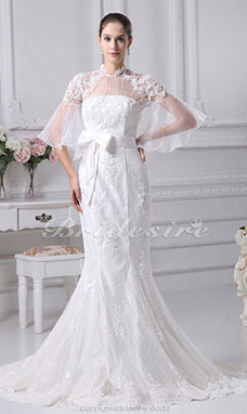 Trumpet/Mermaid High Neck Chapel Train Half Sleeve Lace Satin Organza Wedding Dress