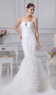 Trumpet/Mermaid Sweetheart Sweep Train Sleeveless Satin Tulle Wedding Dress