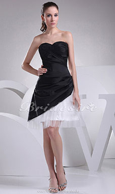 A-line Sweetheart Short/Mini Sleeveless Taffeta Dress