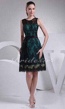 A-line Scoop Short/Mini Sleeveless Satin Lace Dress