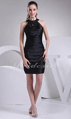 Sheath/Column Halter Short/Mini Sleeveless Stretch Satin Dress