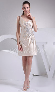 Sheath/Column Sweetheart Short/Mini Sleeveless Stretch Satin Dress
