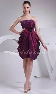 A-line Strapless Short/Mini Sleeveless Stretch Satin Dress