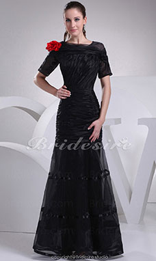 Trumpet/Mermaid Square Floor-length Short Sleeve Stretch Satin Satin Dress