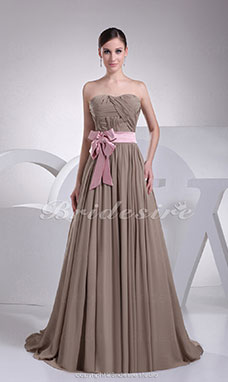 A-line Strapless Sweep Train Sleeveless Stretch Satin Chiffon Dress