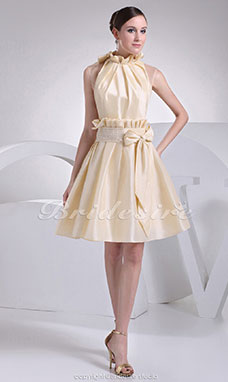 A-line High Neck Knee-length Sleeveless Taffeta Dress