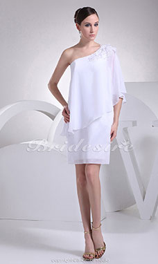Sheath/Column One Shoulder Short/Mini Long Sleeve Chiffon Dress