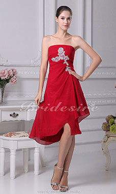 A-line Strapless Asymmetrical Knee-length Sleeveless Chiffon Bridesmaid Dress